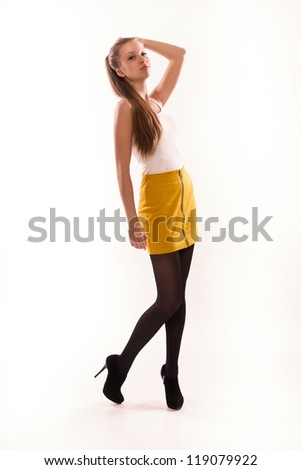 Fashionable casual girl over white