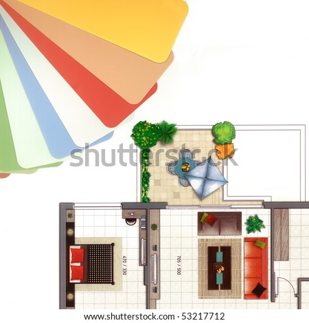 Fashionable colors of paint  isolated on a white background and fragment  of colorful apartment plan pattern with furniture.