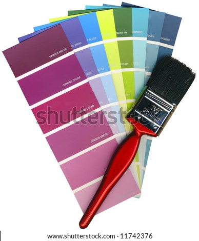 Fashionable colours of paint swatches, and paintbrush on a white background isolated, with Clipping Path