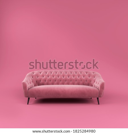 Fashionable comfortable stylish pink fabric sofa with black legs on pink background with shadow. Pink interior, showroom, single piece of furniture. Vilyura, velvet sofa. Luxury couch front view