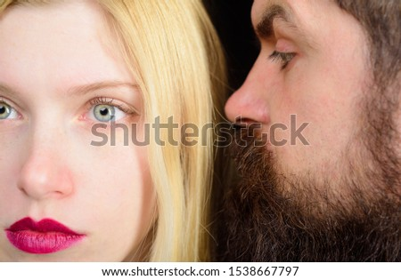 Fashionable couple. Beautiful couple in love. Closeup portrait of beautiful young couple. Romantic beautiful woman and handsome man closeup. Elegant couple in tender passion. Sensual relationship.