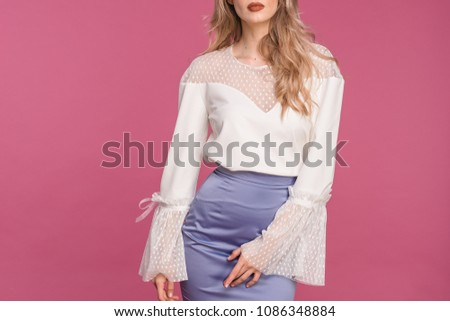 fashionable details wide sleeves for polka dots. blouse with lace sleeves for polka dots  #1086348884