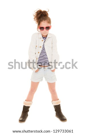 fashionable girl child with trendy clothes