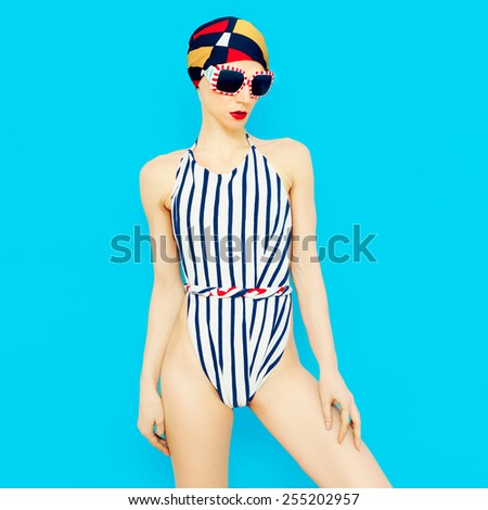 Fashionable Girl In Vintage Swimsuit. Nautical Style ...