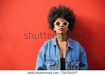 Fashionable girl wearing cool clothes and accessories #736336147