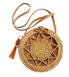 Fashionable handmade natural organic rattan bag. Trendy bamboo eco bag from bali isolated on white