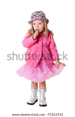 Fashionable kid with lipstick isolated on white