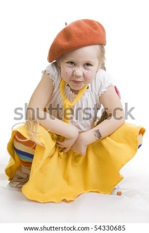 Fashionable little girl grimacing.