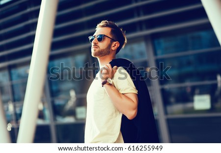 fashionable man in urban setting