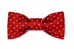 fashionable red bow tie with white paisley pattern isolated on white background