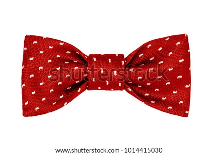 fashionable red bow tie with white paisley pattern isolated on white background #1014415030