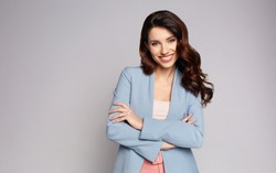 fashionable smiling woman
