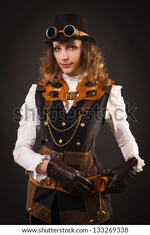 Fashionable steam punk girl