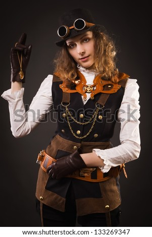 Fashionable steam punk girl
