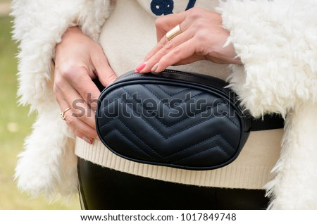 Fashionable Stylish Belt Leather Bag in Blue Color