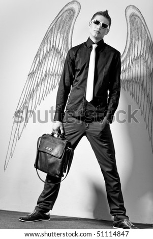 Fashionable stylish man in angel