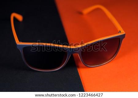 Fashionable sunglasses on minimal  background. Minimal style #1223466427