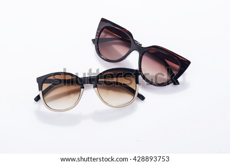 Fashionable sunglasses on white background #428893753