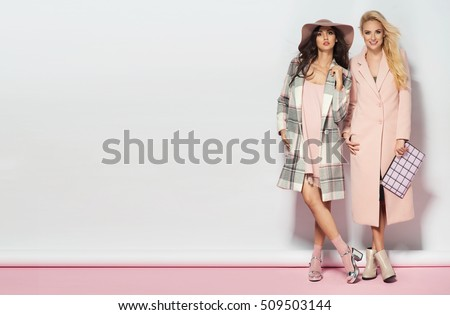 Fashionable two women in coat and nice dress. Fashion autumn winter photo #509503144