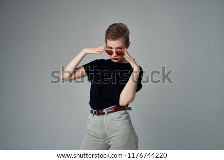 fashionable woman short haircut glasses                          #1176744220