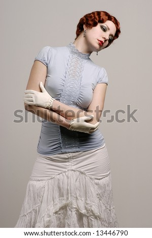 Fashionable woman with vintage look