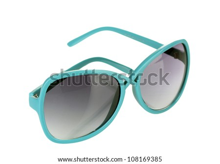 Fashionable women's blue sunglasses isolated on white