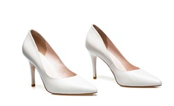 Fashionable women shoes isolated on white background. Stylish classic women leather shoe. White high heel women shoes on white background. White shoe for women. Beauty and fashion concept.