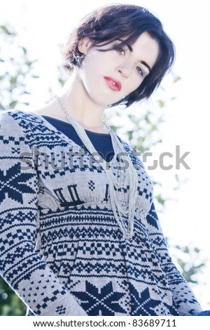 Fashionably dressed woman in the Italian style /Italien-Fashion Herbst / Winter - stock photo