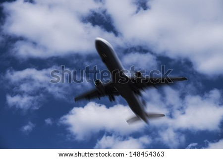 fast airplane and cloudy sky