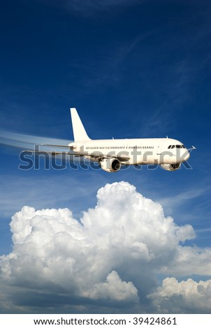 Fast airplane in the sky