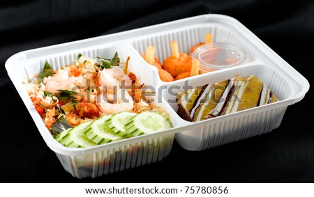 Fast and convenience herbs shrimp fried rice Thai style lunchbox ready to eat food box