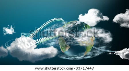 Fast and safe cloud computing on our planet illustrated with digits