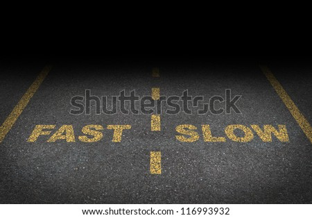 Fast and slow lanes as a business dilemma on how to proceed with a financial plan and strategy for growing conservative or aggressive growth as an asphalt road with yellow painted dividing lines.