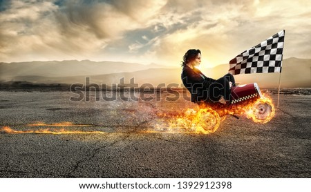 Fast businesswoman with a car wins against the competitors. Concept of success and competition. Flag, competitor.