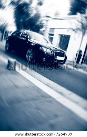 Fast car motion. Special blur effect and blue tint. - stock photo