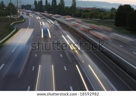 Fast cars on the motorway