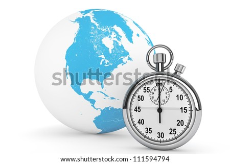 Fast delivery concept. StopWatch with Globe on a white background