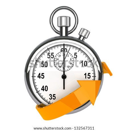 Fast delivery icon. Stopwatch with orange arrow on a white background