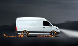 Fast delivery van with flames, concept for a fast delivery