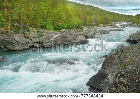 Fast flow mountain River in Norway