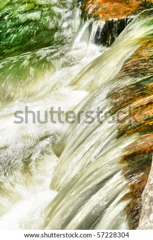 Fast flowing water in the mountain river