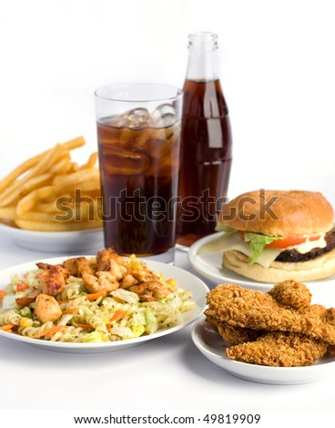 fast food and cola on white background