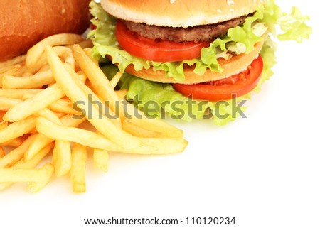Fast food close-up isolated on white