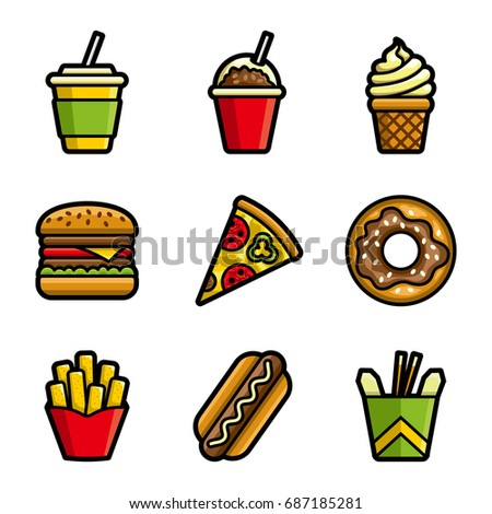 Fast food colored icon set. Fast food hamburger, cola, ice cream, pizza, donut, hot dog, noodles, french fries. Tasty fast food unhealthy meal. Isolated dishes on white background.