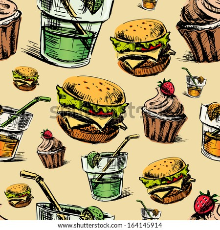 Fast food colorful seamless pattern. Hand drawing sketch background