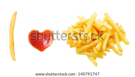 Fast food concept. French fries and ketchup heart isolated on white background.