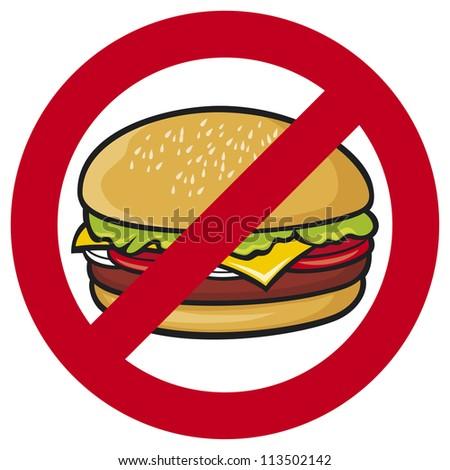 fast food danger label (hamburger, no fastfood sign, stop fast food)