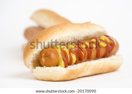 fast food, delicious hot dog isolated over white background