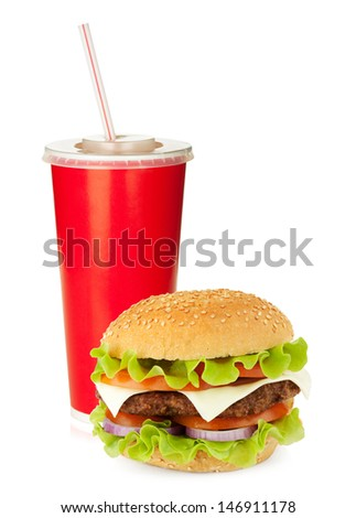 Fast food drink with drinking straw and hamburger. Isolated on white background