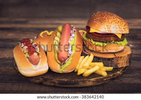 Fast food - Hot dogs, hamburger and French fries